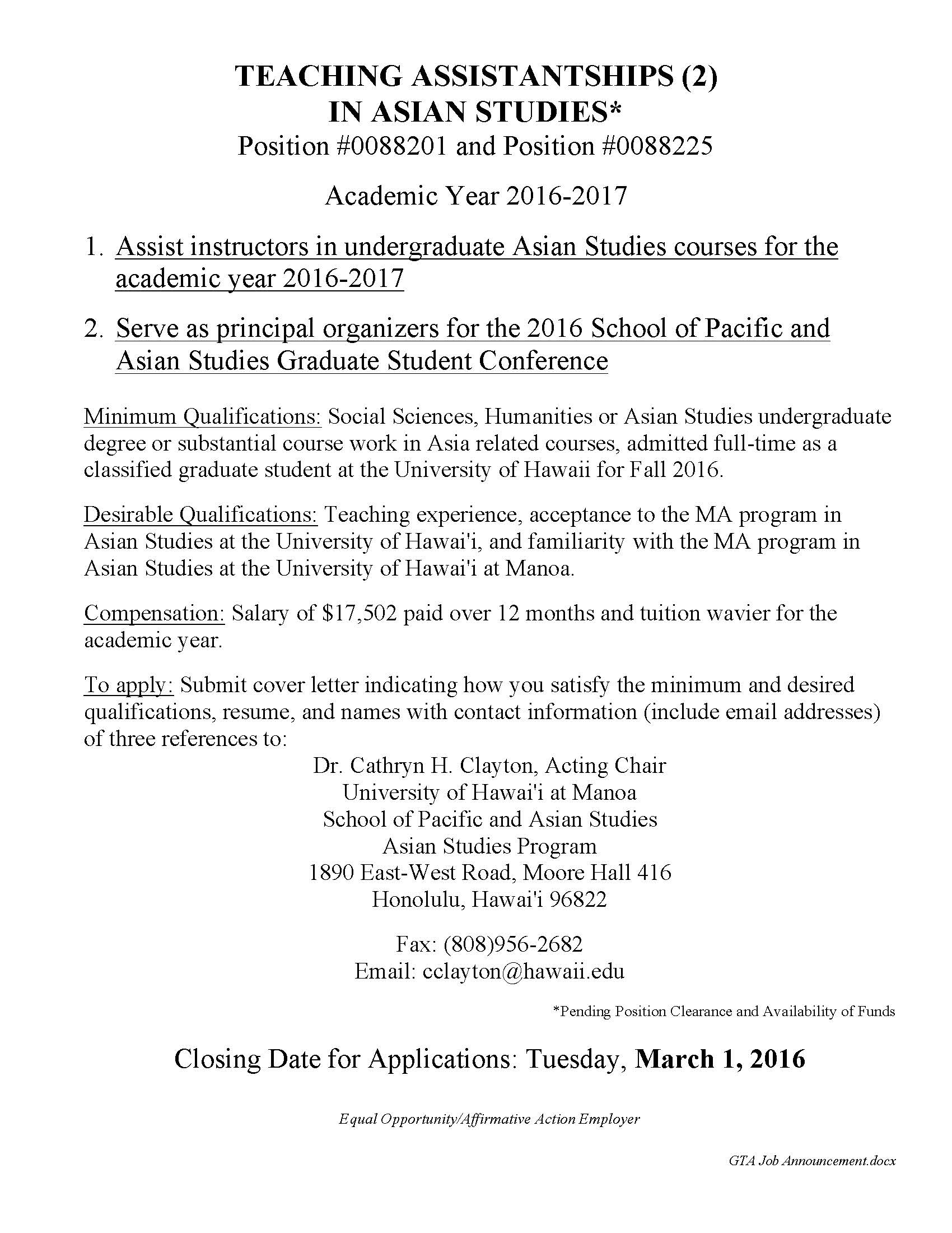 Two Teaching Assistantships in Asian Studies for 2016-2017 ...