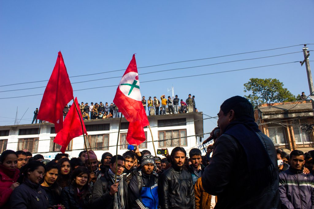 Rally at RR Campus, Kathmandu, in December 2014, with songs calling for new constitution to be written