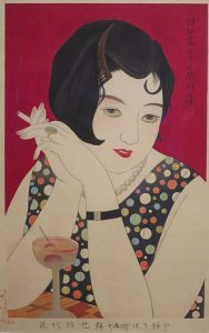 woman with cigarette and drink from 1920s Japanese advertisement
