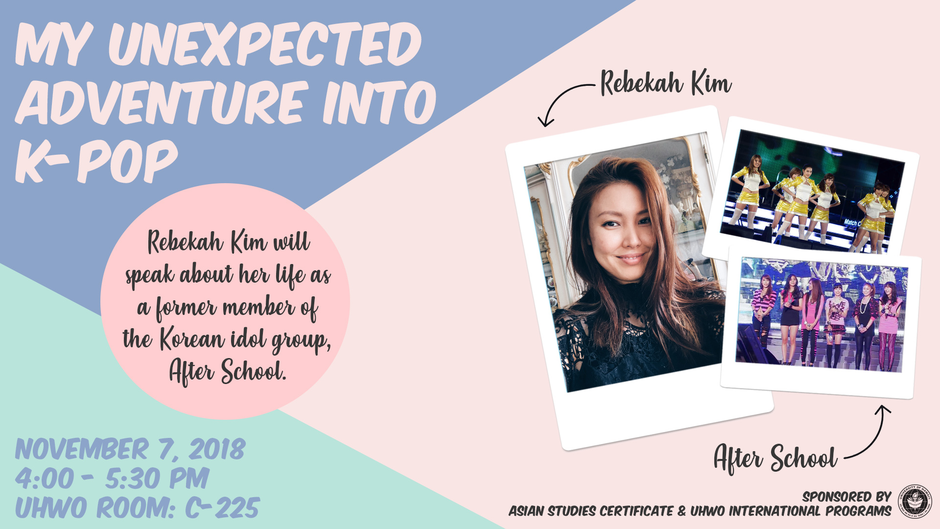 Former Korean Pop Star Rebekah Kim is giving a talk about her life as a pop star at the University of Hawaii West Oahu Campus on Wednesday, November 7.