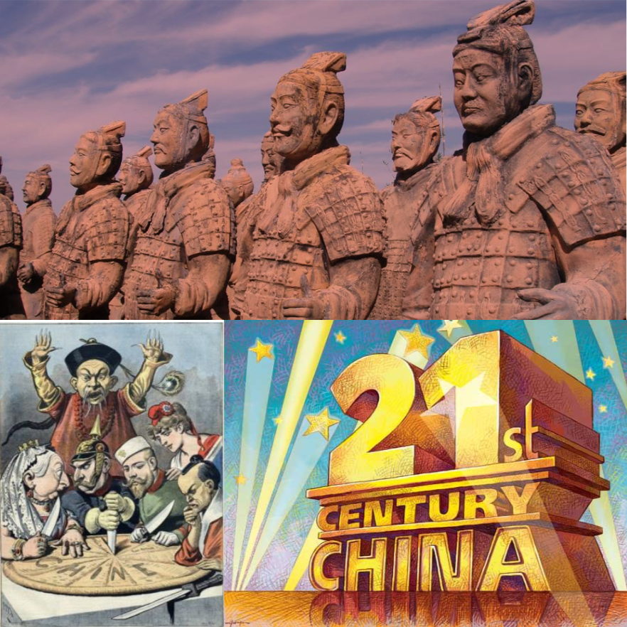 Pictures of terra-cotta warriors, old-fashioned imperialists dividing up China, and spotlights on 21st CENTURY CHINA