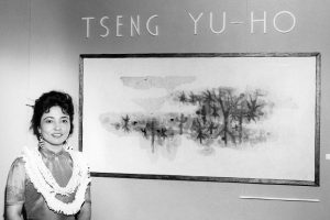 Portrain of Tseng Yu-ho, with her landscape painting