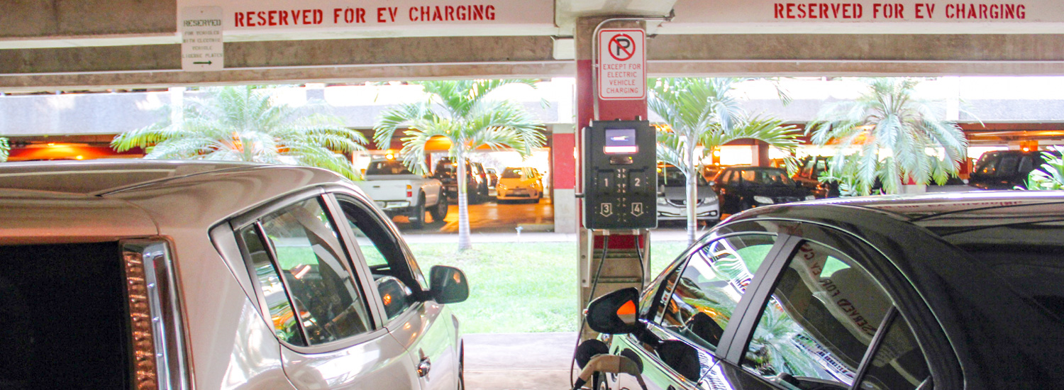 Electric vehicles charging in the lower campus parking structure