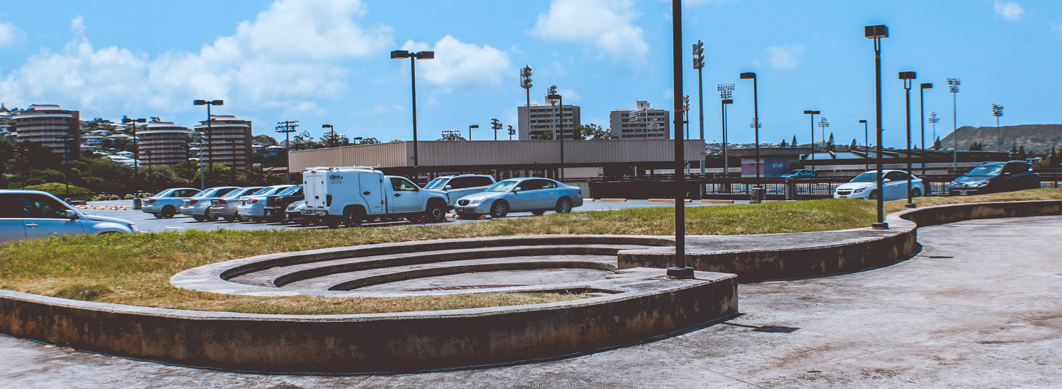 Top level of the lower campus parking structure