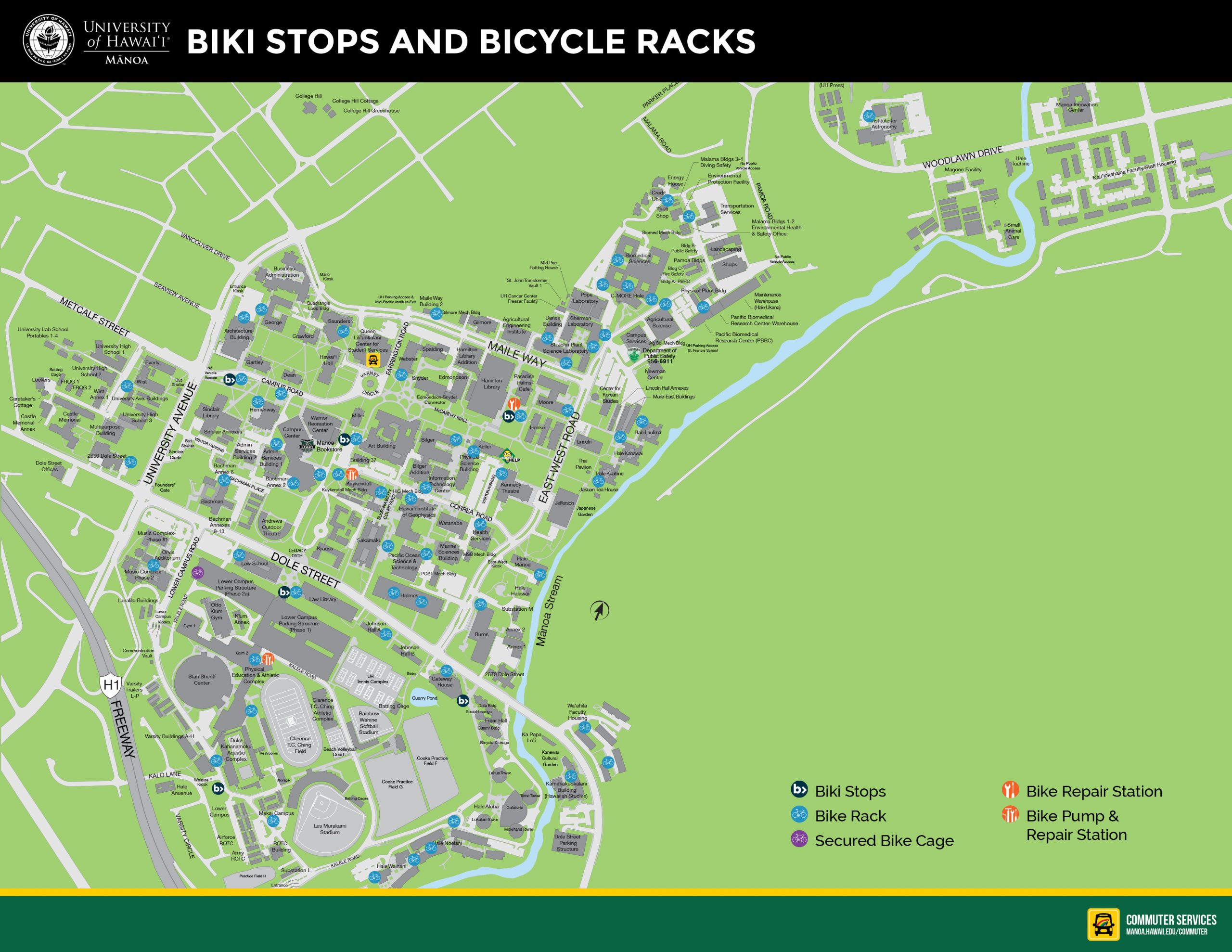 Biki Stops and Bike Rack Map