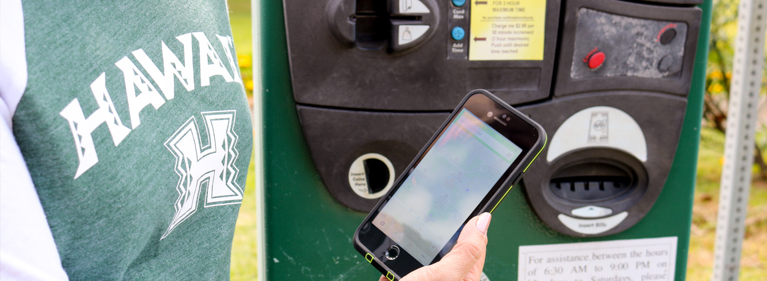 Visitor looking at phone in front of pay to park machine