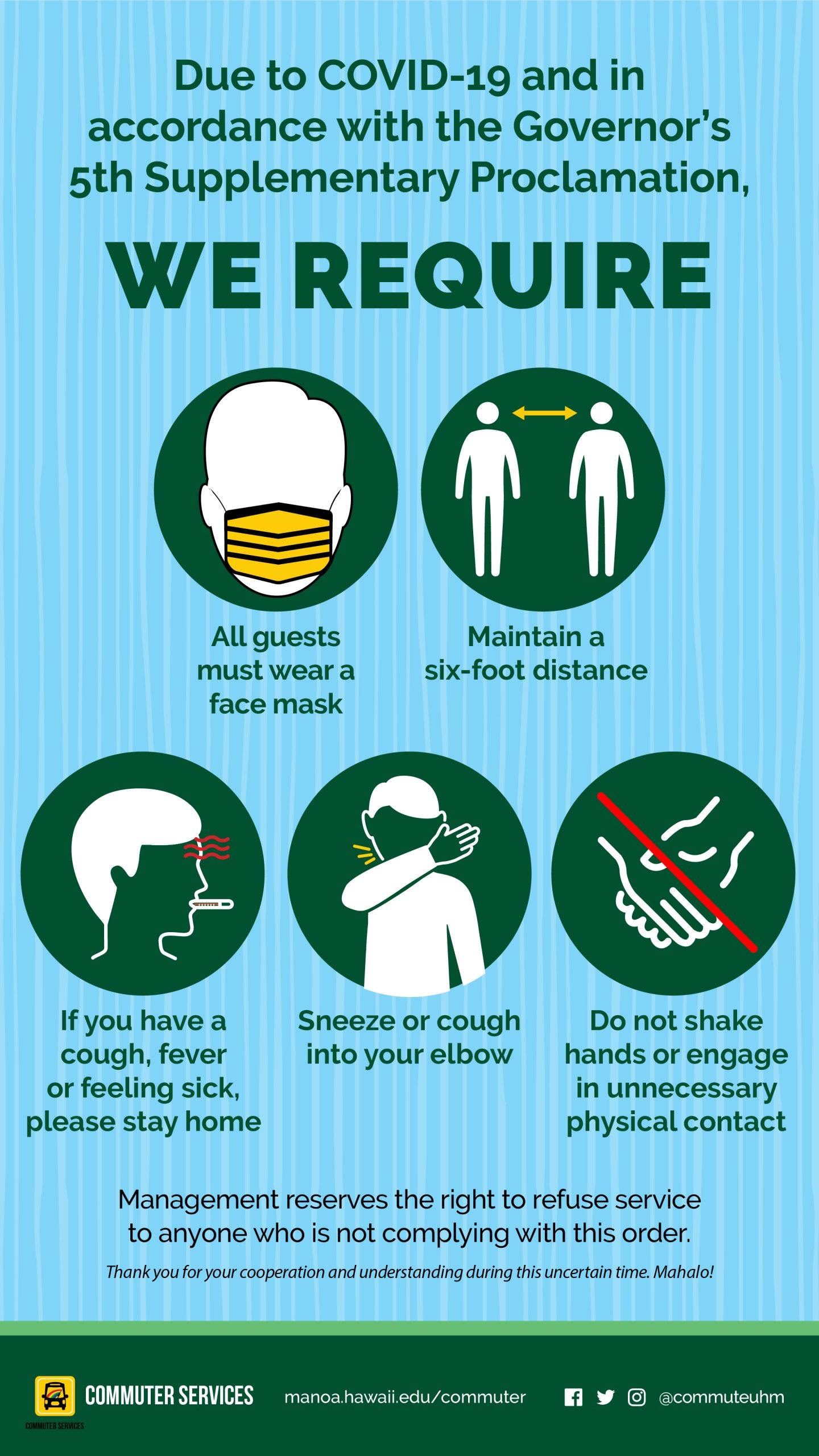We require all guests to wear a face mask, maintain a 6ft desitance, stay home if you have a cough, fever, or feel sick, sneeze or cough into your elbow, and do not shake hands or engage in unnecessary physical contact.