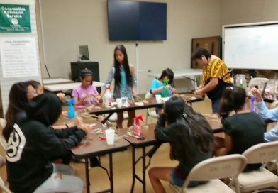 Lucky Clovers Younger Club at UH Maui College for Lauhala Weaving