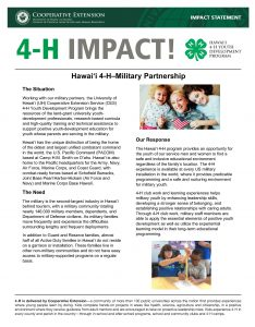 2016 Military 4-H Clubs in Hawaii Impact Statement