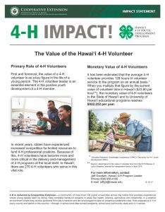 2017 4-H Volunteer Time Value Impact Statement