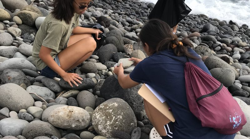 Bagging trash at 2019 Beach Clean Up