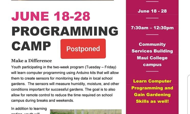 Arduino Camp Flyer Announcing Postponement of Dates