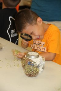 Youth looking through magnifying glass for pests as part of Junior Master Gardener curriculum