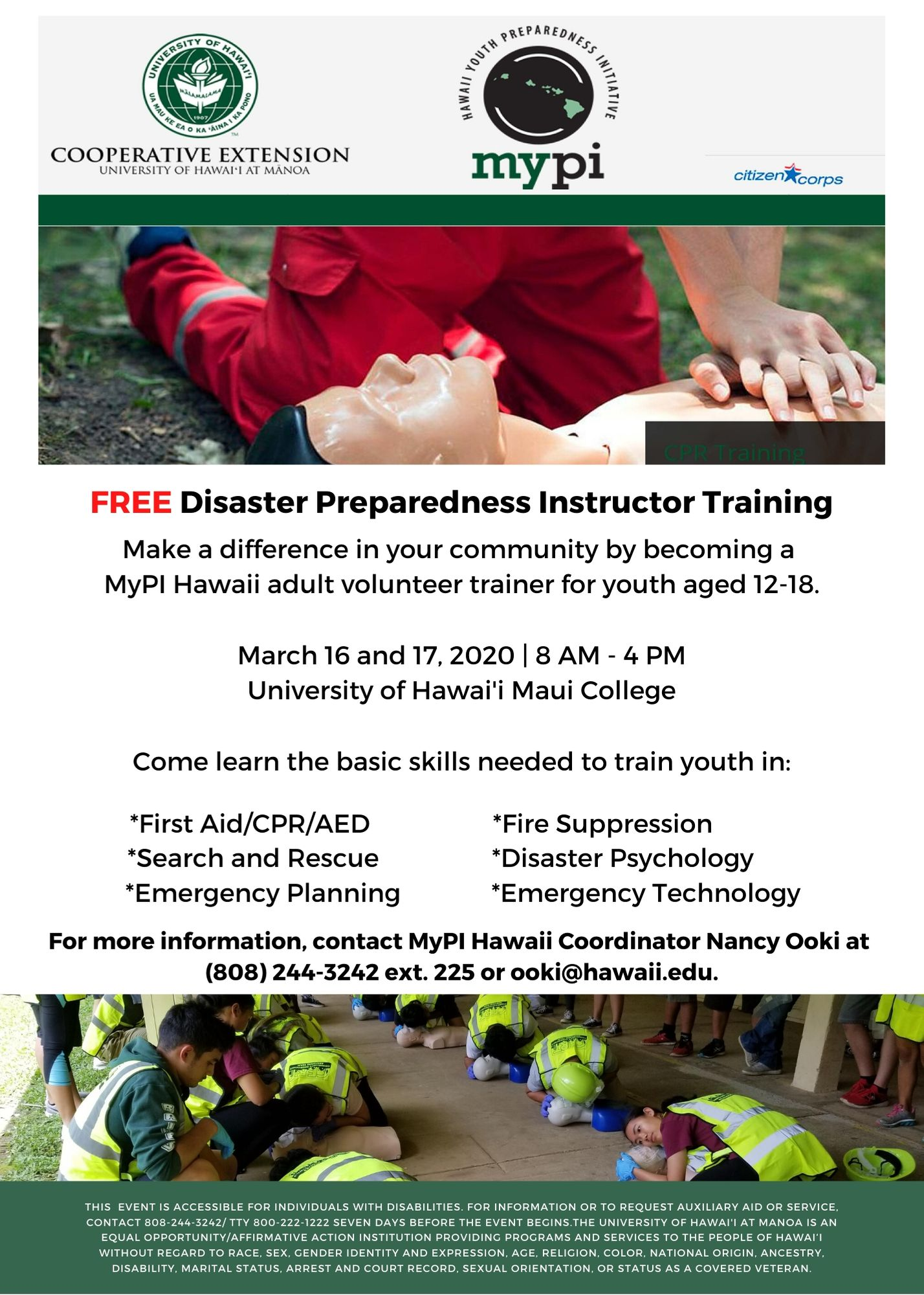 MyPI Hawaii Spring 2020 Adult Volunteer Training Flier