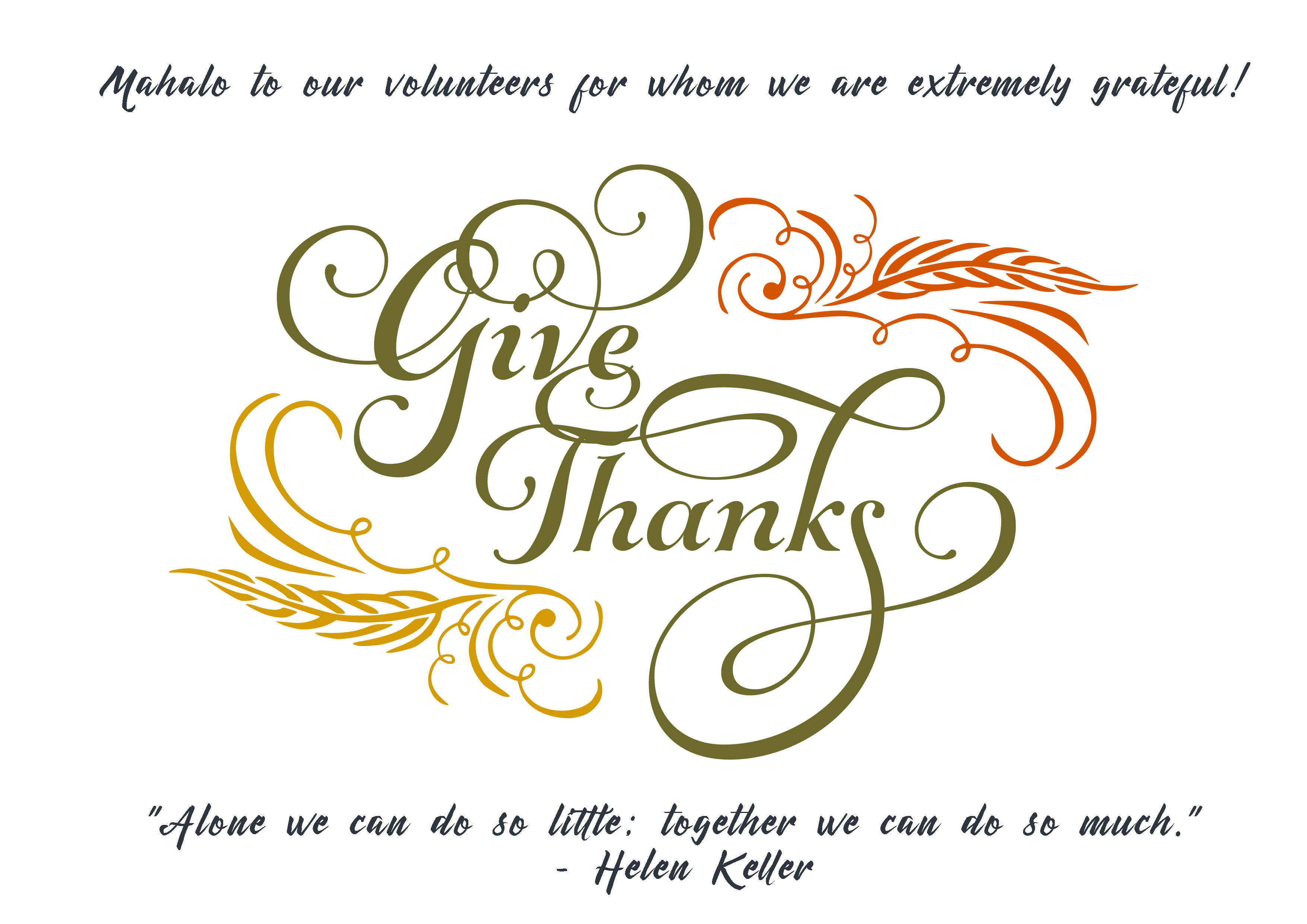 Giving Thanks graphic. Mahalo to our volunteers for whom we are extremely grateful!