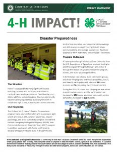 4-H Impact Disaster Preparedness Statement Screenshot Image