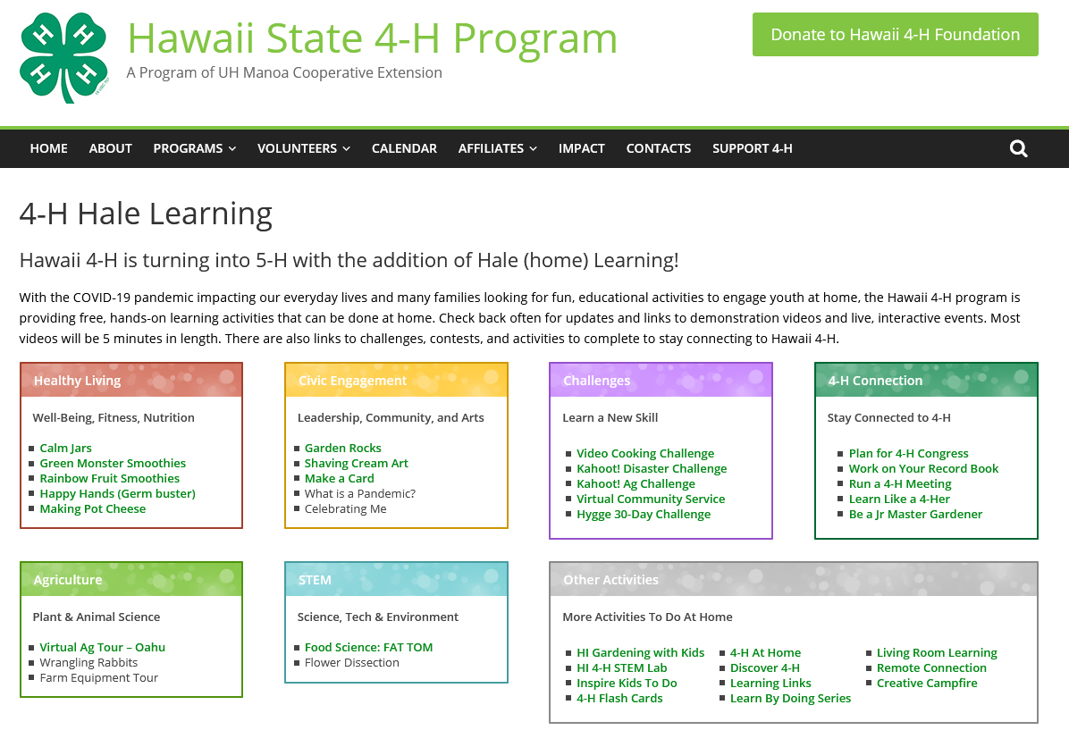 Screenshot of the 4-H Hale Learning web page.