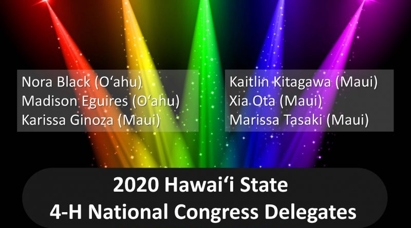 Listing of Names for 2020 National 4-H hawaii delegates