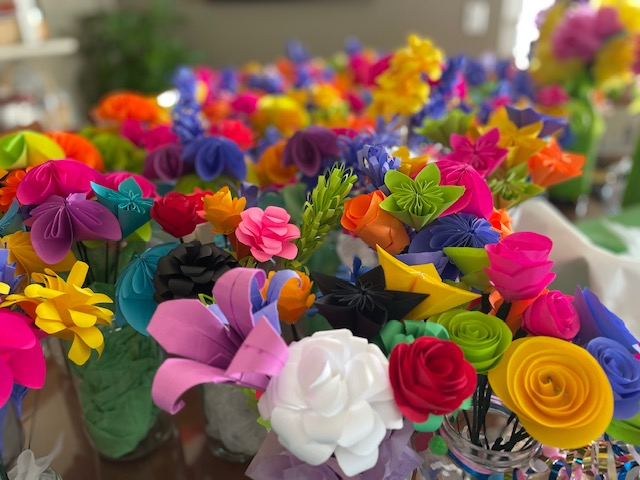 Paper Flower Bouquets for Community Service Project