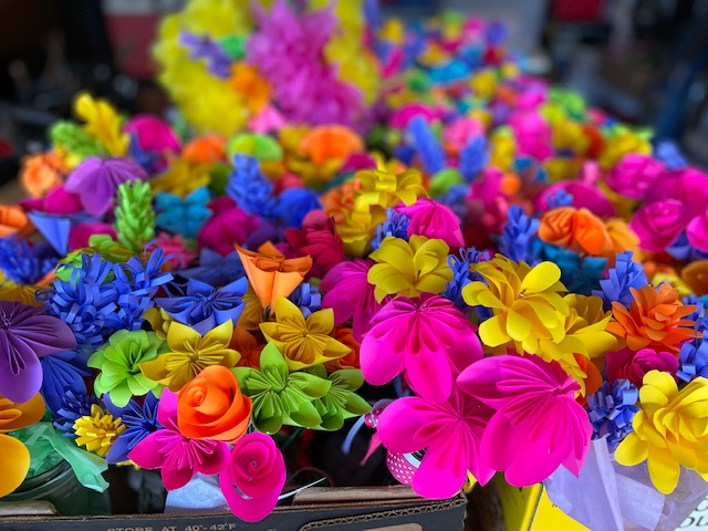Close Up of Paper Flower Bouquets for Community Service Project