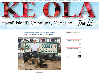 Ke Ola Article about 4-H Clubs on the Big Island