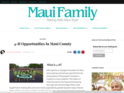 Article about 4-H Opportunities in Maui County