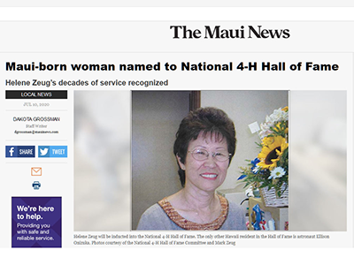 Maui News Article about Helene Zeug