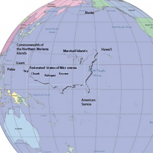 Map of the Pacifi c Region indicating locations of Hawai'i, the U.S. Affi liated Pacifi c Islands (American Samoa, Commonwealth of the Northern Mariana Islands, Federated States of Micronesia, Guam, Republic of the Marshall Islands, and the Republic of Palau), Alaska, and the contiguous U.S. The overlay of the contiguous U.S., set between Hawai'i and Guam, indicates that the width of the contiguous U.S. at its widest point, is just 400 miles short of the distance between these two Pacifi c islands.