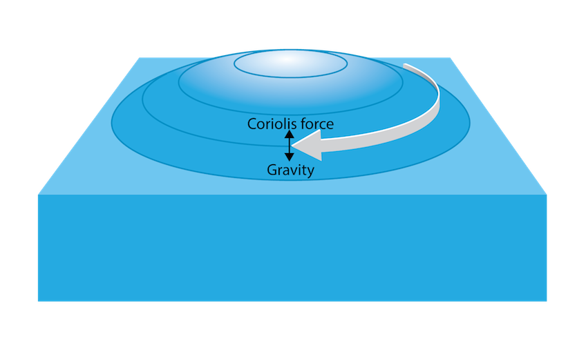 <p><strong>Fig. 3.22.</strong> Coriolis forces, the rotational velocity of Earth, and gravity are responsible for generating geostrophic flow.</p>