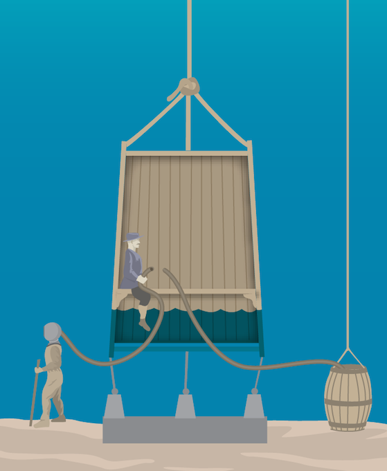 <p><strong>Fig. 9.21.</strong> An air-filled wooden container called a diving bell permitted divers to work under water.</p>