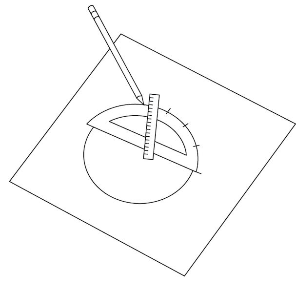<p><strong>Fig. 1.19.</strong> (<strong>A</strong>) Creating a template with a protractor.</p>