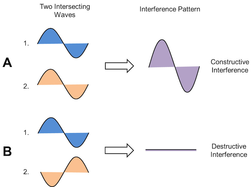 <p><strong>Fig. 4.10.</strong> Inference patterns are the sum of the intersecting waves. These diagrams show (<strong>A</strong>) constructive and (<strong>B</strong>) destructive interference of two waves.</p>