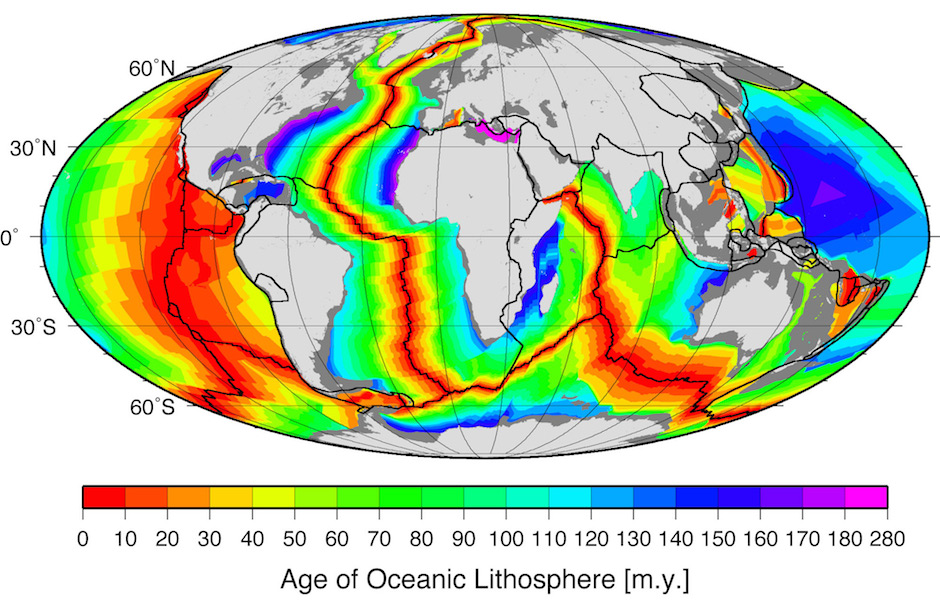 <p><strong>Fig. 7.58.</strong> The age of oceanic crust in millions of years. The youngest crust (shown in red) is near mid ocean ridges and spreading zones.</p>