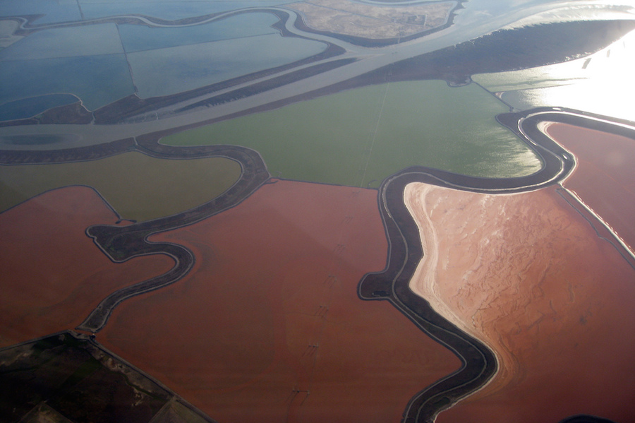 <p><strong>Fig. 2.35.</strong> (<strong>A</strong>) Salt evaporation ponds on the shores of San Francisco Bay</p>