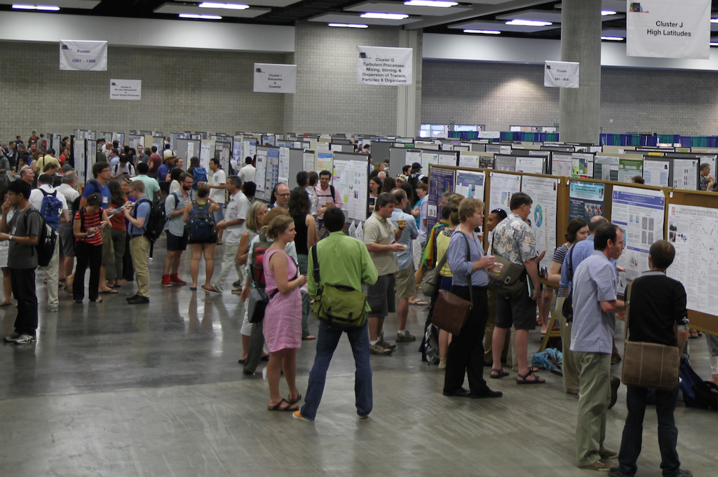 <p><strong>Fig. 2.11.</strong>&nbsp;(<strong>B</strong>) Hundreds of marine scientists attended a poster session to discuss their research the 2014 Ocean Sciences conference in Honolulu, Hawai'i.</p>