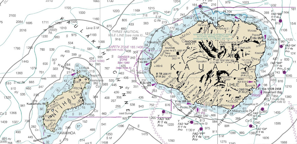 <p><strong>Fig. 2.16. </strong>(<strong>B</strong>) A nautical chart of the islands of Ni'ihau and Kaua'i. Nautical charts are a type of map showing water depths and other information used for navigation.</p>