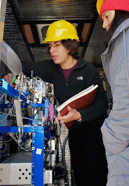 <p><strong>Fig. 2.2. </strong>(<strong>B</strong>) NOAA scientists inspect an instrument that samples particles in the atmosphere.</p>