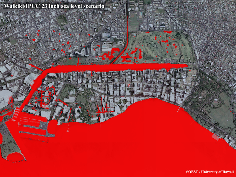 <p><strong>SF Fig. 3.6.</strong> (<strong>A</strong>) A satellite photo of Waikiki, Hawai'i, has been modified to show potential flooding due to sea level rise. Red indicates saltwater intrusion predicted by 2050.</p>