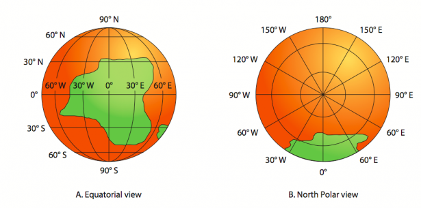<p><strong>Fig. 1.23.</strong> Orthographic-projection maps (<strong>A</strong>) Equatorial view (<strong>B</strong>) North polar view</p><br />