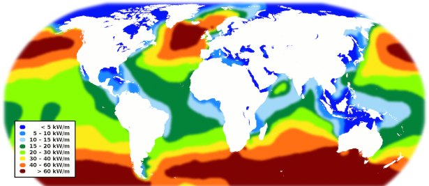 <p><strong>SF Fig. 4.12.</strong> World map of potential wave energy measured in kilowatts per meter of wave crest</p><br />