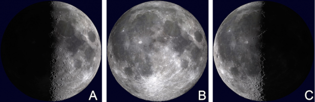 <p><strong>Fig. 6.4.</strong> Moon phases (<strong>A</strong>) First quarter moon, (<strong>B</strong>) Full moon, (<strong>C</strong>) Third quarter moon</p><br />