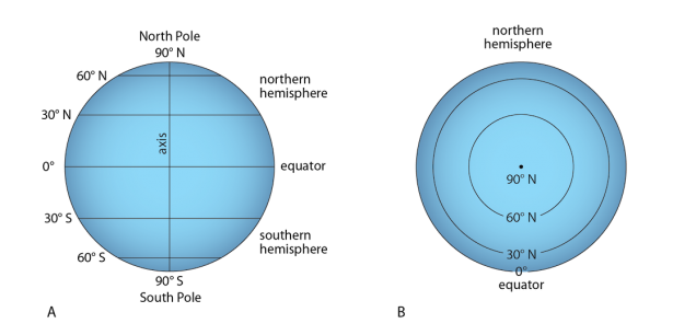<p><strong>Fig. 8.15.</strong> The equator and the parallels of latitude (<strong>A</strong>) are equally spaced as seen in an equatorial view of the world and (<strong>B</strong>) can be seen to form complete circles when viewed from the North or South Pole.</p><br />