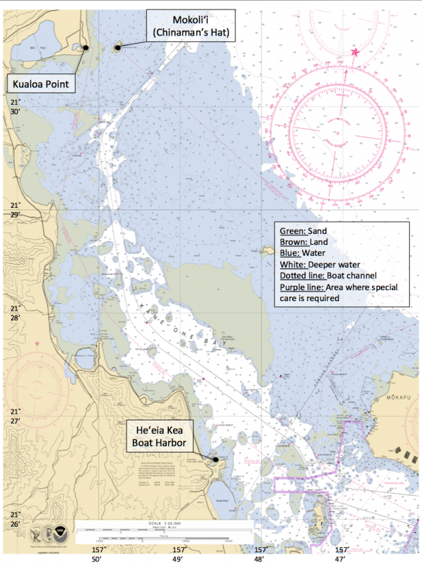 <p><strong>Fig. 8.31.</strong> Nautical chart of Kāne'ohe Bay, O'ahu, that shows Mokoli'i, Kualoa Point, and He'eia Kea Boat Harbor, as well as the major boat channel, nautical features, and islands within the bay.</p><br />