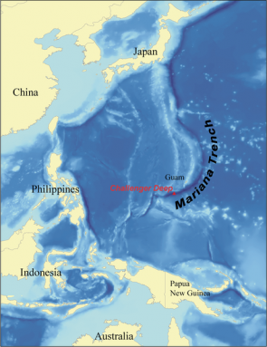 <p><strong>Fig. 9.20.</strong> Challenger Deep is a location at the bottom of Mariana Trench in the western Pacific ocean basin. It is the deepest point of the world ocean at 10,994 meters.</p><br />