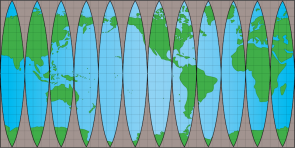 <p><strong>Fig. 1.6. </strong>Equal-area map with superimposed grid. One square at the equator represents a surface area of about 1,240,000 square kilometers. On this map land is green even if it is covered by ice. This map does not show sea ice.</p><br />