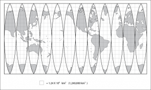 <p><strong>Fig. 1.8.1.</strong> Equal-area map with superimposed grid. One square at the equator represents a surface area of about 1,240,000 square kilometers. On this map land is grey even if it is covered by ice. This map does not show sea ice.</p><br />