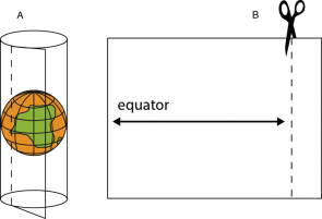 <p><strong>Fig. 1.25</strong>. (<strong>A</strong>) Roll a sheet of blank paper around the orange globe, the paper should touch the orange at the orange&rsquo;s equator. (<strong>B</strong>) Cut off excess paper after determining the width of paper for a cylindrical-projection map.</p><br />