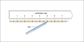 <p><strong>Fig. 2.15.</strong> Measuring and marking a skewer to construct a hydrometer</p>