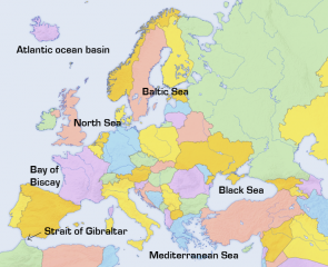 <p><strong>Fig. 2.20.</strong> Some of the seas around Europe and Africa. The narrow Strait of Gibraltar connects the Mediterranean to the Atlantic ocean basin.</p><br />