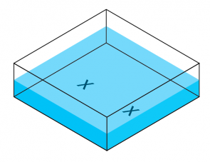 <p><strong>Fig. 5.11.</strong> Ripple tank with X's marked on bottom.</p>